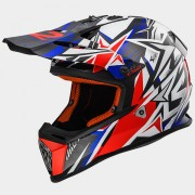 LS2 CASCO OFF ROAD FAST MX437 STRONG White Blue Red - 404372626