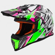 LS2 CASCO OFF ROAD FAST MX437 STRONG White Green Pink - 404372660