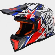 LS2 CASCO CROSS BAMBINO STRONG MX437J STRONG White Blue Red - 40437J2626