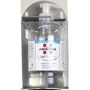 SANITALY Porta dispenser gel da muro realizzata in acciaio inox 304 satinato, base Diam. 350mm H. 1180mm GPR-3